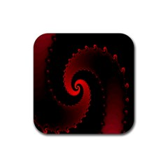 Red Fractal Spiral Rubber Coaster (square)  by Simbadda