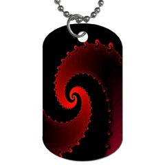 Red Fractal Spiral Dog Tag (one Side) by Simbadda