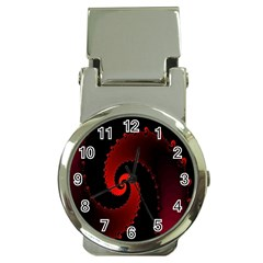 Red Fractal Spiral Money Clip Watches by Simbadda