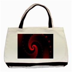 Red Fractal Spiral Basic Tote Bag by Simbadda