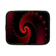 Red Fractal Spiral Netbook Case (small)  by Simbadda