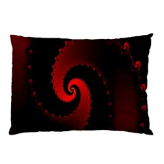Red Fractal Spiral Pillow Case (two Sides) by Simbadda
