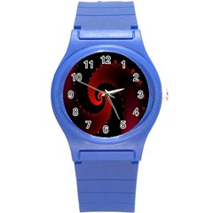 Red Fractal Spiral Round Plastic Sport Watch (s) by Simbadda