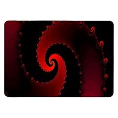 Red Fractal Spiral Samsung Galaxy Tab 8 9  P7300 Flip Case by Simbadda