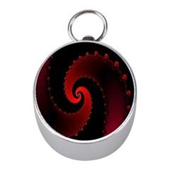 Red Fractal Spiral Mini Silver Compasses by Simbadda