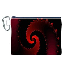 Red Fractal Spiral Canvas Cosmetic Bag (l) by Simbadda
