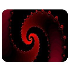 Red Fractal Spiral Double Sided Flano Blanket (medium)  by Simbadda