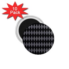 Chevron Wave Line Grey Black Triangle 1 75  Magnets (10 Pack)  by Alisyart