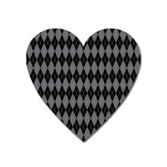 Chevron Wave Line Grey Black Triangle Heart Magnet by Alisyart