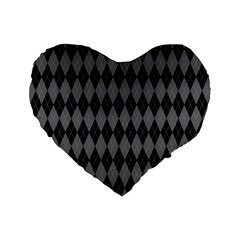 Chevron Wave Line Grey Black Triangle Standard 16  Premium Heart Shape Cushions by Alisyart