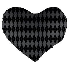 Chevron Wave Line Grey Black Triangle Large 19  Premium Heart Shape Cushions by Alisyart