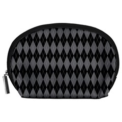 Chevron Wave Line Grey Black Triangle Accessory Pouches (large)  by Alisyart