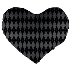 Chevron Wave Line Grey Black Triangle Large 19  Premium Flano Heart Shape Cushions by Alisyart