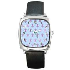 Flower Floral Different Colours Blue Purple Square Metal Watch by Alisyart