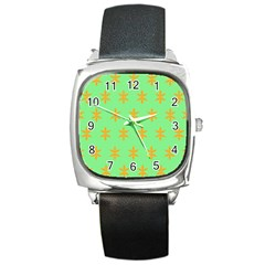 Flower Floral Different Colours Green Orange Square Metal Watch by Alisyart