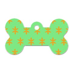 Flower Floral Different Colours Green Orange Dog Tag Bone (one Side) by Alisyart
