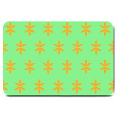 Flower Floral Different Colours Green Orange Large Doormat  by Alisyart