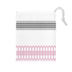 Crown King Quinn Chevron Wave Pink Black Drawstring Pouches (large)  by Alisyart