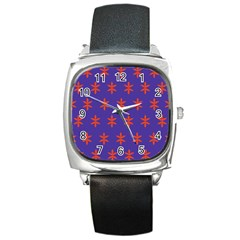 Flower Floral Different Colours Purple Orange Square Metal Watch by Alisyart