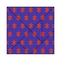Flower Floral Different Colours Purple Orange Acrylic Tangram Puzzle (6  X 6 ) by Alisyart