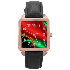 Fractal Construction Rose Gold Leather Watch  by Simbadda