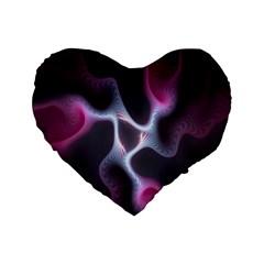 Colorful Fractal Background Standard 16  Premium Heart Shape Cushions by Simbadda