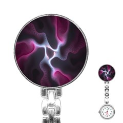 Colorful Fractal Background Stainless Steel Nurses Watch by Simbadda