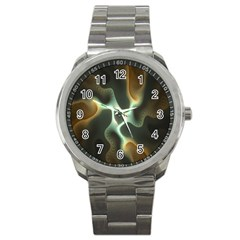 Colorful Fractal Background Sport Metal Watch by Simbadda
