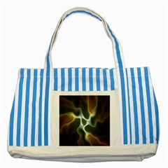 Colorful Fractal Background Striped Blue Tote Bag by Simbadda