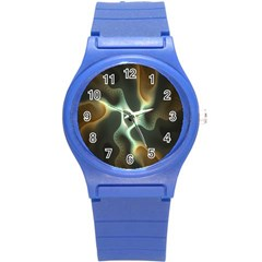 Colorful Fractal Background Round Plastic Sport Watch (s) by Simbadda