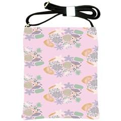 Floral Flower Rose Sunflower Star Leaf Pink Green Blue Shoulder Sling Bags by Alisyart