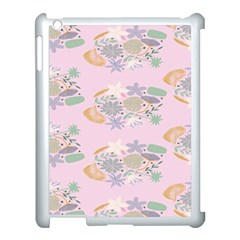 Floral Flower Rose Sunflower Star Leaf Pink Green Blue Apple Ipad 3/4 Case (white) by Alisyart