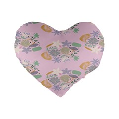 Floral Flower Rose Sunflower Star Leaf Pink Green Blue Standard 16  Premium Heart Shape Cushions by Alisyart