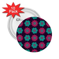 Flower Floral Rose Sunflower Purple Blue 2 25  Buttons (10 Pack)  by Alisyart