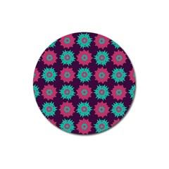 Flower Floral Rose Sunflower Purple Blue Magnet 3  (round) by Alisyart