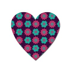 Flower Floral Rose Sunflower Purple Blue Heart Magnet by Alisyart