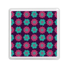 Flower Floral Rose Sunflower Purple Blue Memory Card Reader (square)  by Alisyart