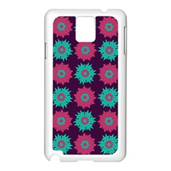 Flower Floral Rose Sunflower Purple Blue Samsung Galaxy Note 3 N9005 Case (white) by Alisyart