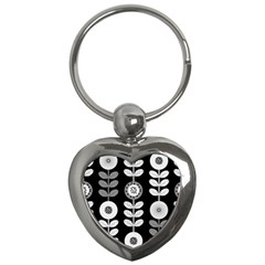 Floral Pattern Seamless Background Key Chains (heart)  by Simbadda