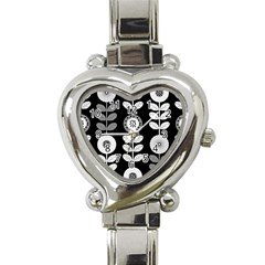 Floral Pattern Seamless Background Heart Italian Charm Watch by Simbadda