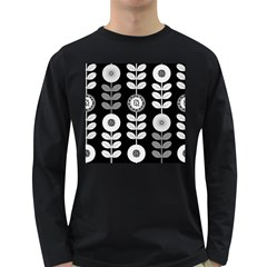 Floral Pattern Seamless Background Long Sleeve Dark T-Shirts