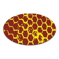 Network Grid Pattern Background Structure Yellow Oval Magnet by Simbadda