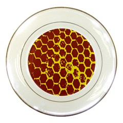 Network Grid Pattern Background Structure Yellow Porcelain Plates by Simbadda