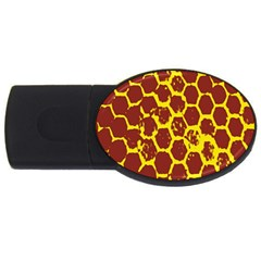 Network Grid Pattern Background Structure Yellow Usb Flash Drive Oval (4 Gb) by Simbadda