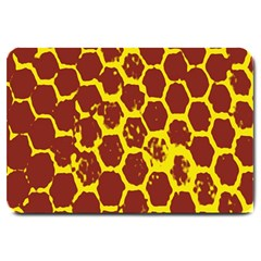Network Grid Pattern Background Structure Yellow Large Doormat  by Simbadda
