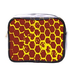 Network Grid Pattern Background Structure Yellow Mini Toiletries Bags by Simbadda