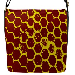 Network Grid Pattern Background Structure Yellow Flap Messenger Bag (s) by Simbadda