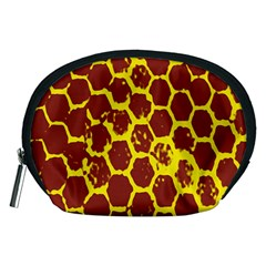 Network Grid Pattern Background Structure Yellow Accessory Pouches (medium)  by Simbadda