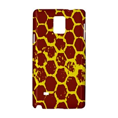 Network Grid Pattern Background Structure Yellow Samsung Galaxy Note 4 Hardshell Case by Simbadda