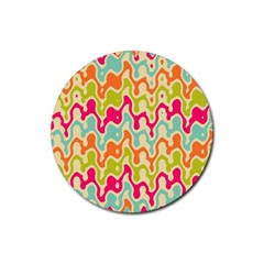 Abstract Pattern Colorful Wallpaper Rubber Round Coaster (4 Pack)  by Simbadda